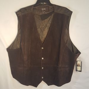 G-III Men's Brown Suede Leather Vest Size 6X